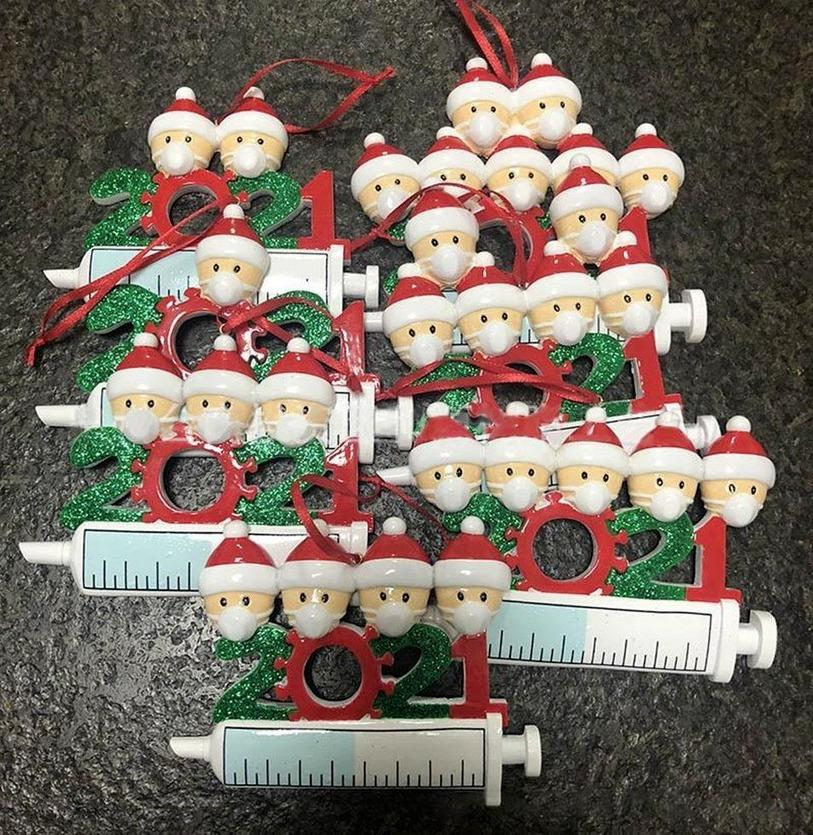 DHL 2021 Christmas Decoration Quarantine Ornaments Family of 1-9 Heads DIY Tree Pendant Accessories with Rope Tiktok CM30