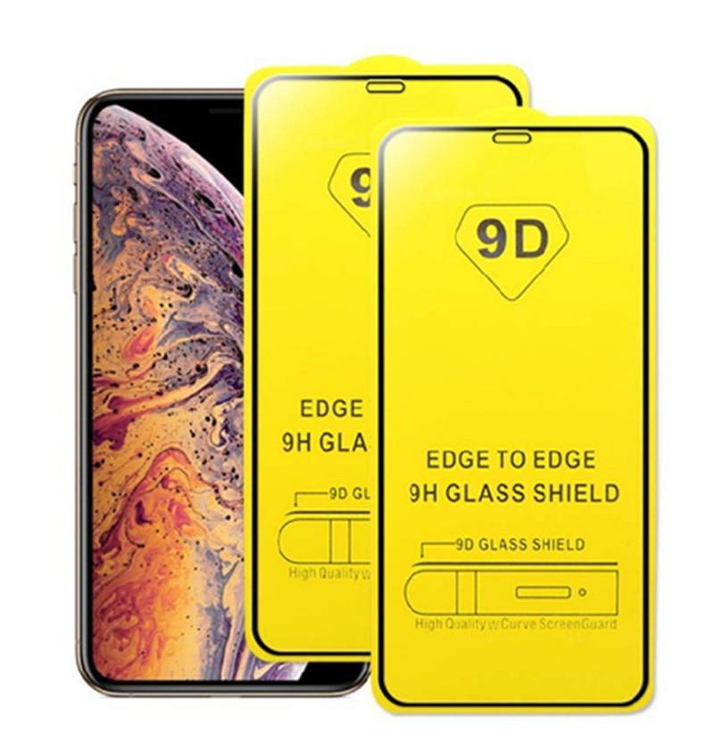 9D Tam Kapak Temperli Cam Tam Tutkal 9 H Ekran Koruyucu Için iPhone 12 11 Pro Max XS XR X 8 2020 Samsung S10 E A10 A31 A71 A21S Huawei P40