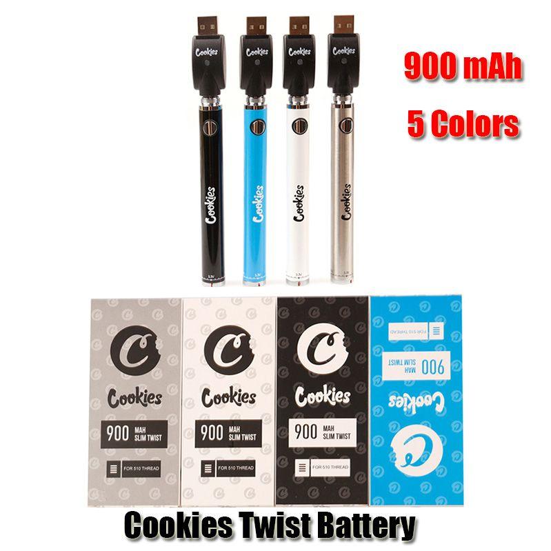 Cookies Twist Battery SF Slim 900mAh Bottom 3.3-4.8V Preheat VV Vape Pen Usb Charger Kit For 510 Thick Oil Cartridge DHL