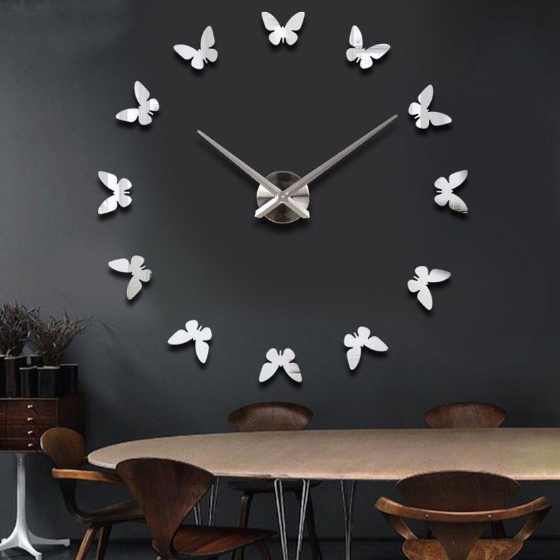 Creative Home Настенные Часы 3d Наклейки Наклейки Часы Персонализированные Выпечки Зеркало DIY Украшения Гостиная Орнамент