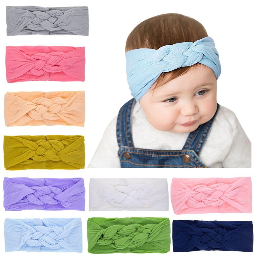 Baby Headbands Elastic Cotton Turban Twist Hairbands Infant Girls Braid Head Wraps Children Kids Stretchy Nylon Hair Accessory KHA48