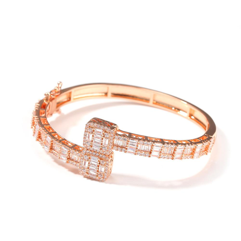 Iced Out Men Gold Plated T Square Zircon Cuff Bracelet Crystal Miami Bangle Fashion Personality Cuban Hip Hop Bling Jewerly