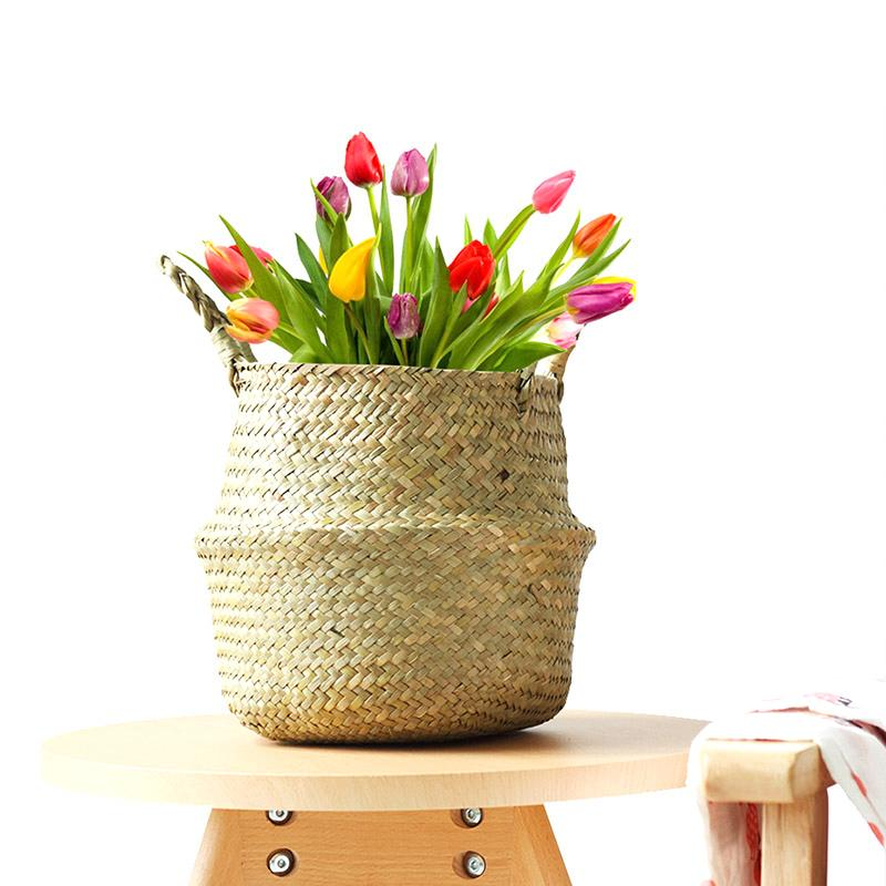 Bamboo تخزين سلة طوي زهرة وعاء المنازل المنزلية سلال المنسوجة متعددة الوظائف الغسيل سترو الكولاج ويكير لوازم الحديقة