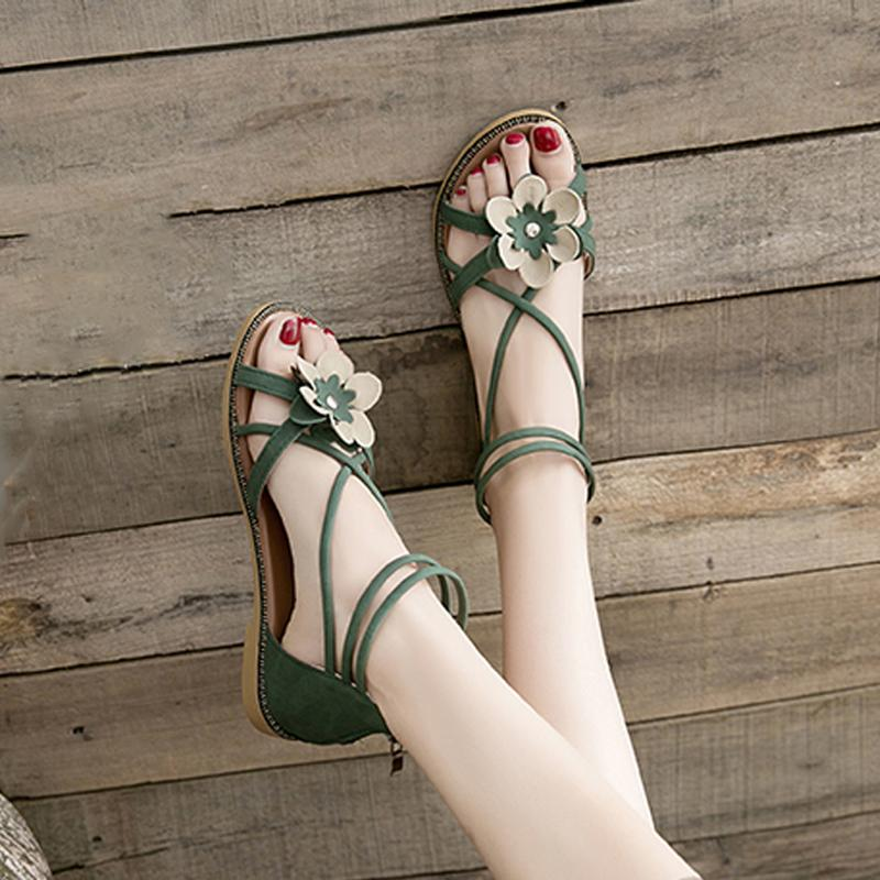 Летняя обувь женщина сандалии повседневные открытые пальцы ноги задняя молния горнолыжный ремешок цветы пляжный гладиатор Низкий коренастый ремешок Sandalias 210301