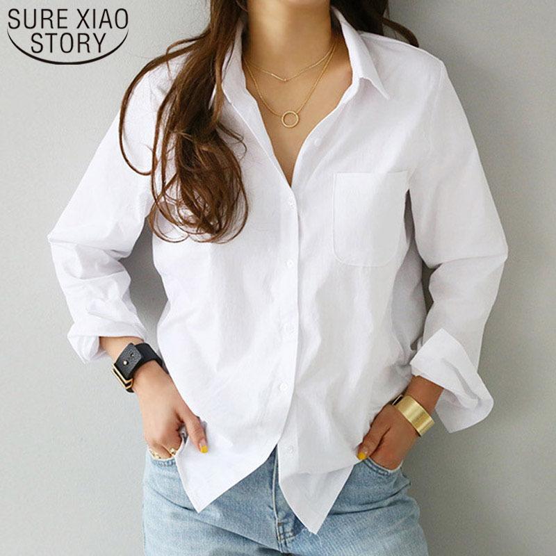 Camicie da donna e camicette 2021 Camicetta femminile Top Manica lunga Casual Casual Turn-Down Collar OL Style Donne Camicette sciolte 3496 50 210301