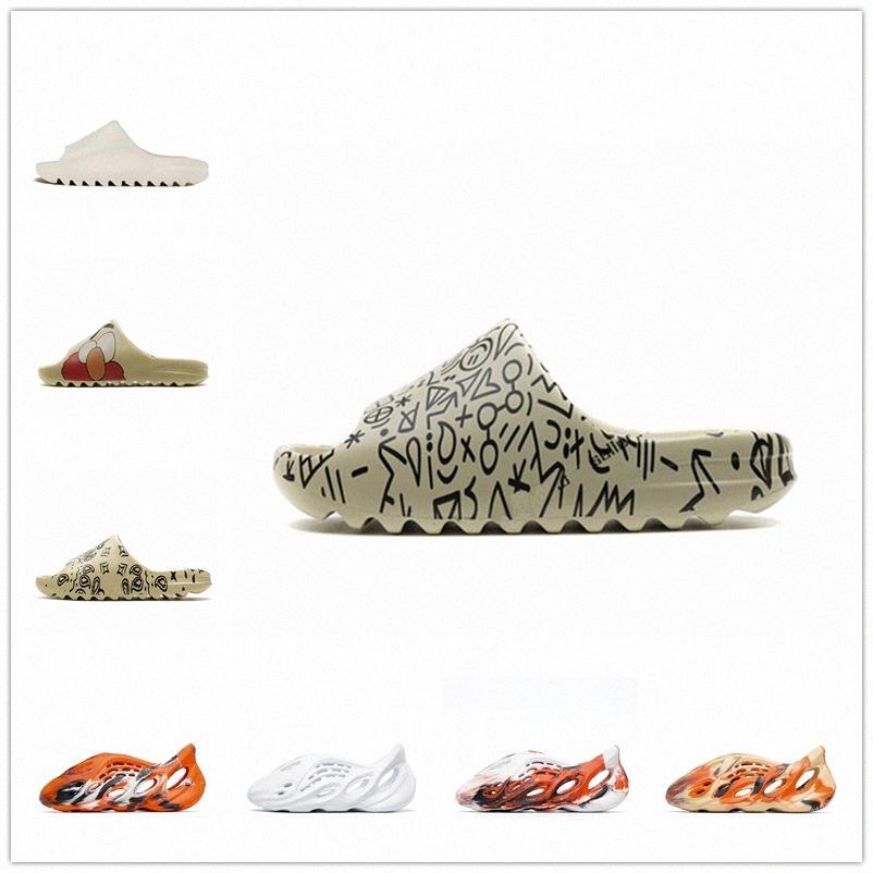Alta calidad 2021 diapositivas zapatillas espuma corredor desierto arena triple negro hueso blanco resina diapositiva sandalia para hombre zapatilla tamaño 36-46 4265 #