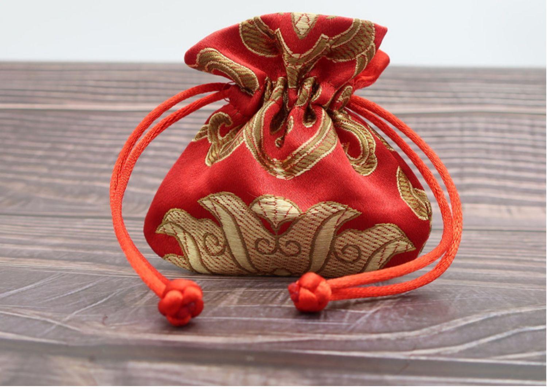 5pcs Carino mini coulisse in stile cinese borsa fortunato sacchetti fatti a mano in seta broccato gioielli sacchetti vintage bustina di alta qualità confezione 8x8 cm