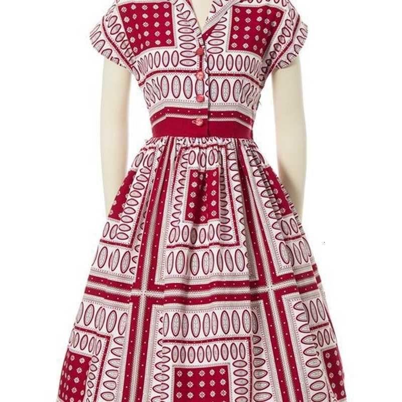 Frühlingsmode Frauen 2021 Sommer Neue Kontrast Temperament Print Revers Kleid 2301 s