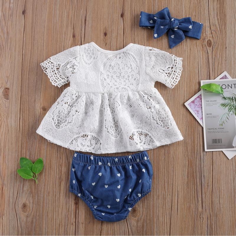 Clothing Sets 3Piece Baby Girl\u2021s Clothes Lace Solid Color Short Sleeve Tops Heart Print Wrapped Shorts And Headband Girl Summer
