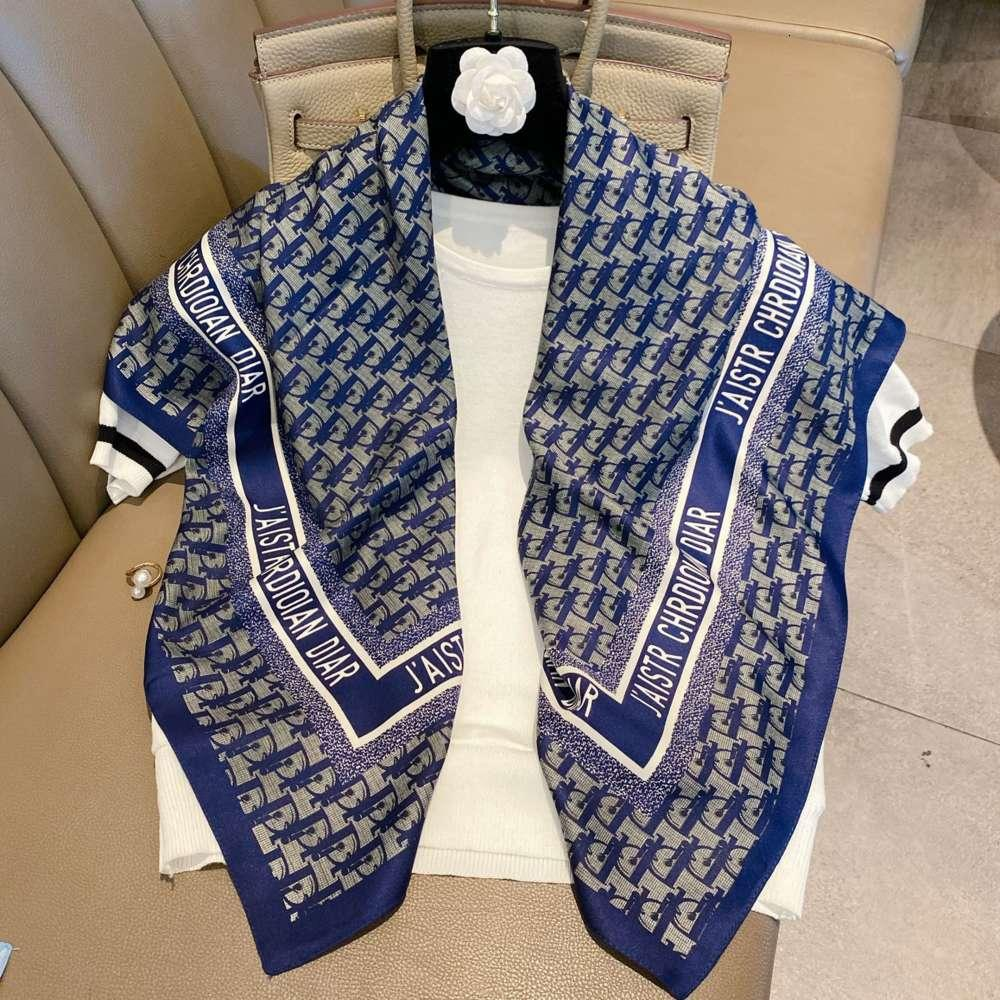 2020 New women's square simulation Silk Scarf d letter printing versatile net red shawl beach towel