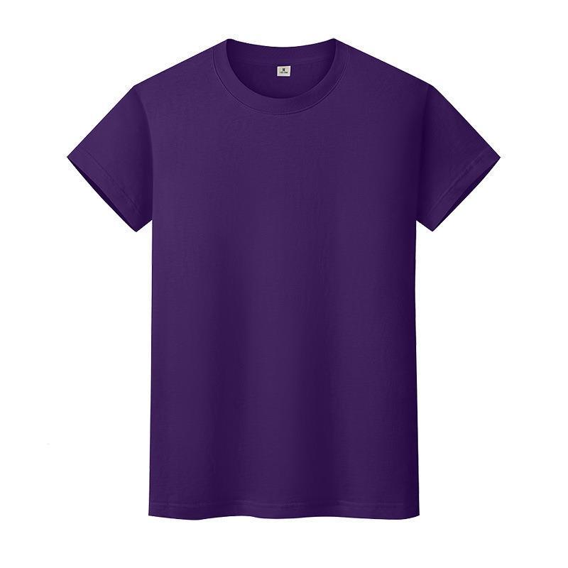 T-shirt de couleur solide ronde en coton à manches courtes à manches courtes et à manches longues 3BH