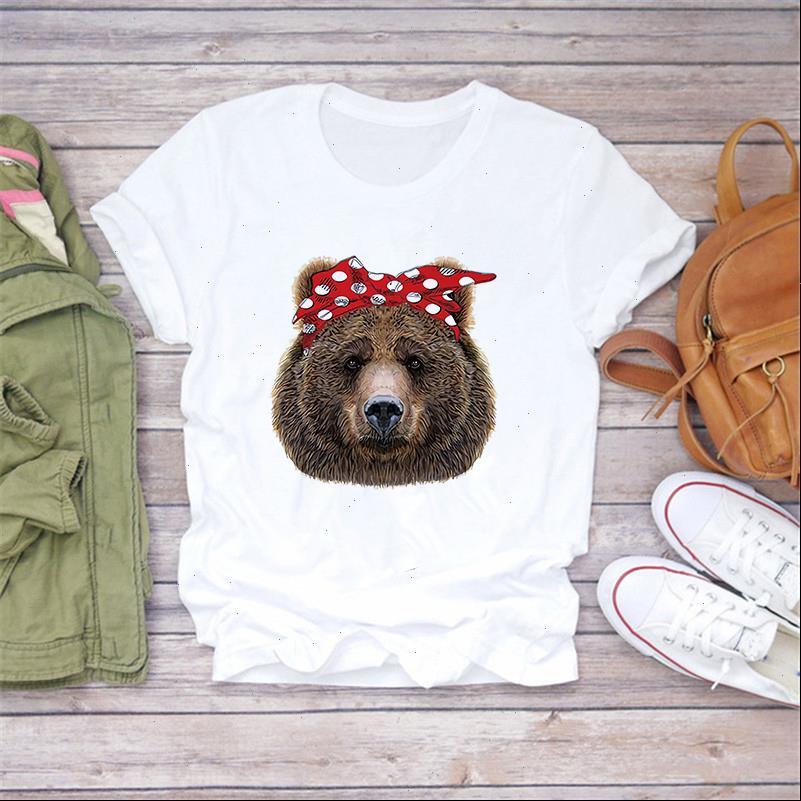 2021 Womens Tops Kurzarm Casual White T-Shirt Bär Bärenbogen Drucken Niedliche Kawaii Mädchen Shirts Damen Streetwear