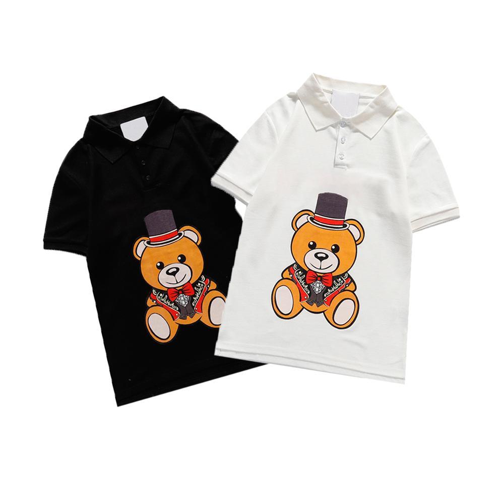 Kadın Moda Polo Tişörtleri Ayı Hayvan Mektup Desen Stil Tişörtleri Muhtasar Kadın Polos Spor Rahat Tees Yaz 2021