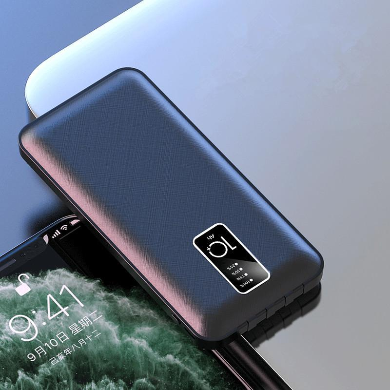 20000mAh 전원 은행 대용량 휴대용 전화 충전기 시계 디지털 디스플레이 2 USB 입력 옥외 여행 PowerBank 4 케이블 포함 Xiaomi