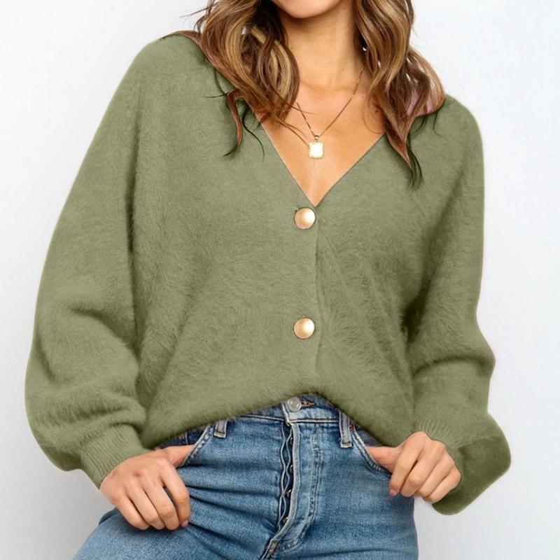Я женщин вязаные кардиганы свитер мода осень с длинным рукавом свободное пальто случайные кнопки толстые V шеи твердые женские топы 2021