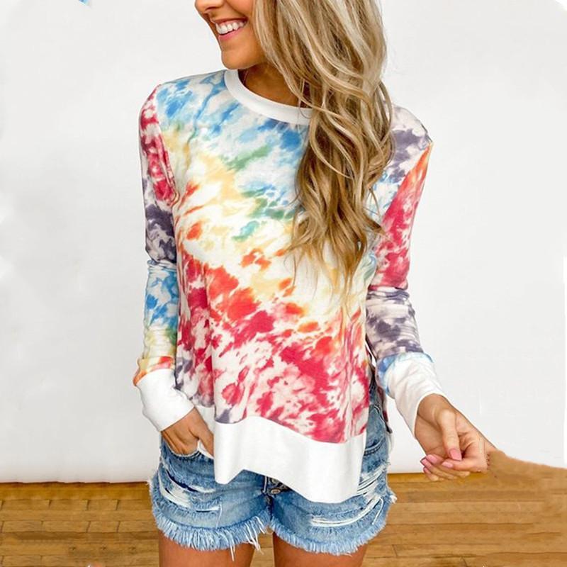 Feminino 2020 Tie-tintura impresso gradient cor rodada pescoço manga comprida t-shirt mulheres split camiseta fêmea harajuku plus tamanho 5xl tee