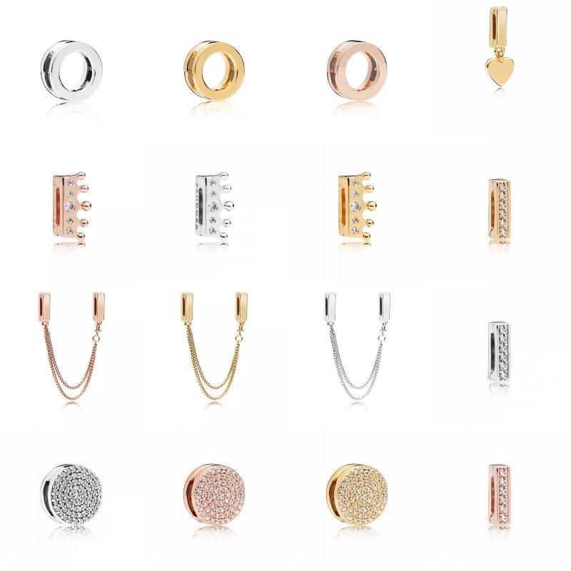 925 Sterling Silver Shine Riflessioni affascinanti abbagliante eleganza clip clip rose clip flottante a forma di cuore clip di fascino sicurezza 383 g2