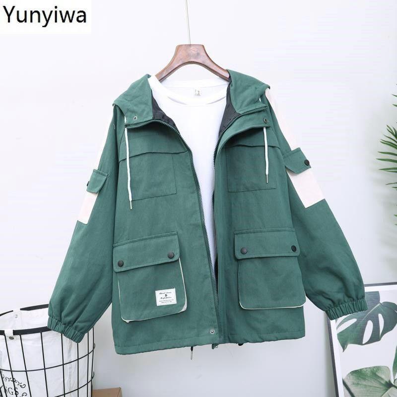 Frauenjacken Kontrastfarbe Mit Kapuze Cargo Jacke 2021 Herbst Taschen Reißverschluss Mantel Frauen Langarm Safari Stil Oberbekleidung