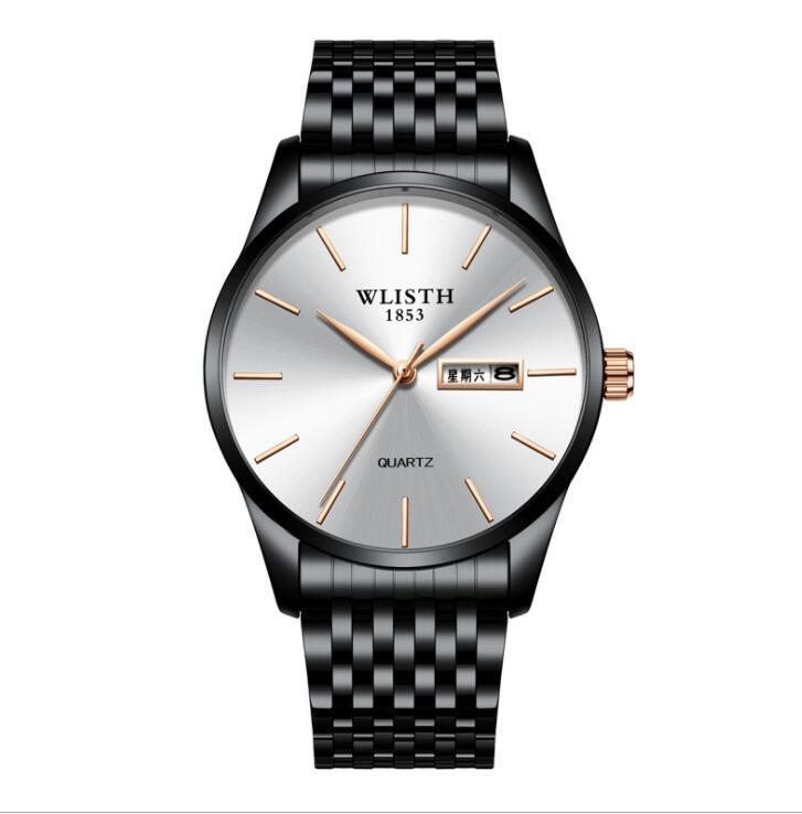 Wallis Factory прямой серебряный циферблат продажи мода черная нержавеющая сталь три иглы творческие часы