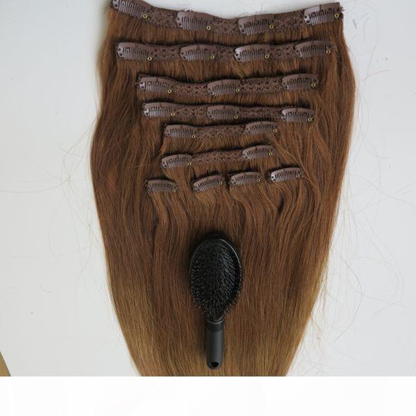 160G 20 22-дюймовый бразильский клип в наращивание волос 100% Human Hair T814 # Remy прямые волосы Weaves 10 шт. Установите бесплатный гребень