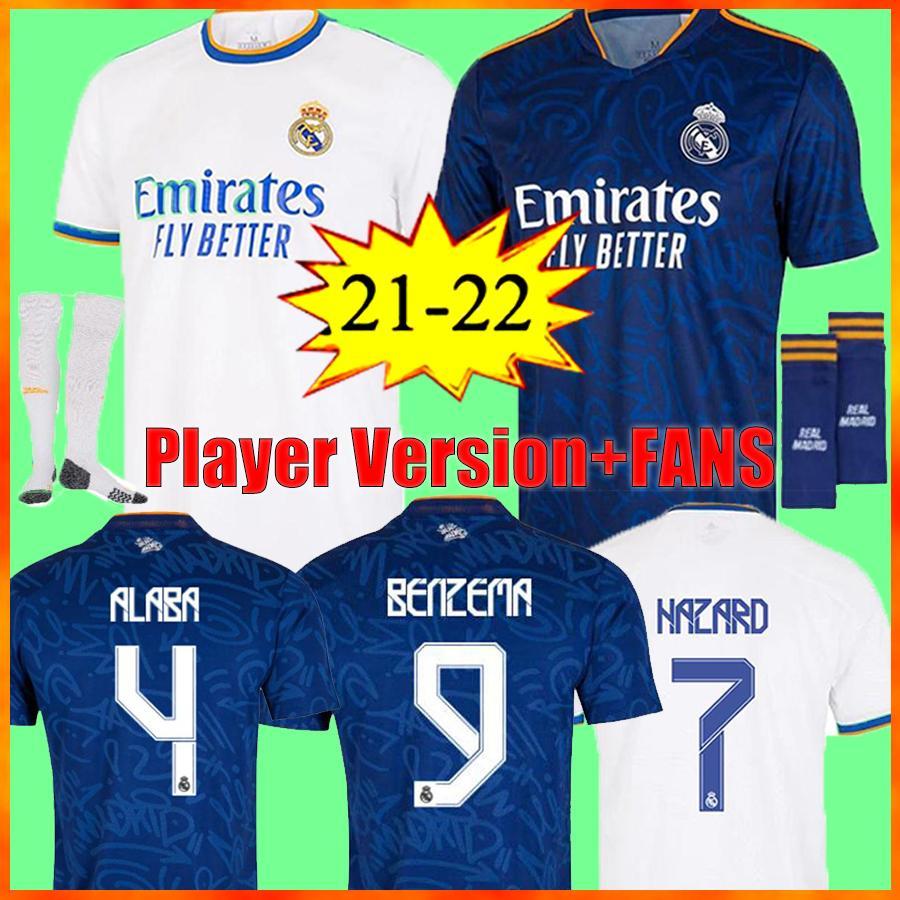 2022 ريال مدريد لكرة القدم الفانيلة قمصان كرة القدم Alaba Hazard Sergio Ramos Benzema Asensio Marcric Marcelo Camiseta الرجال + Kids Kit 21/22 الزي الرابع