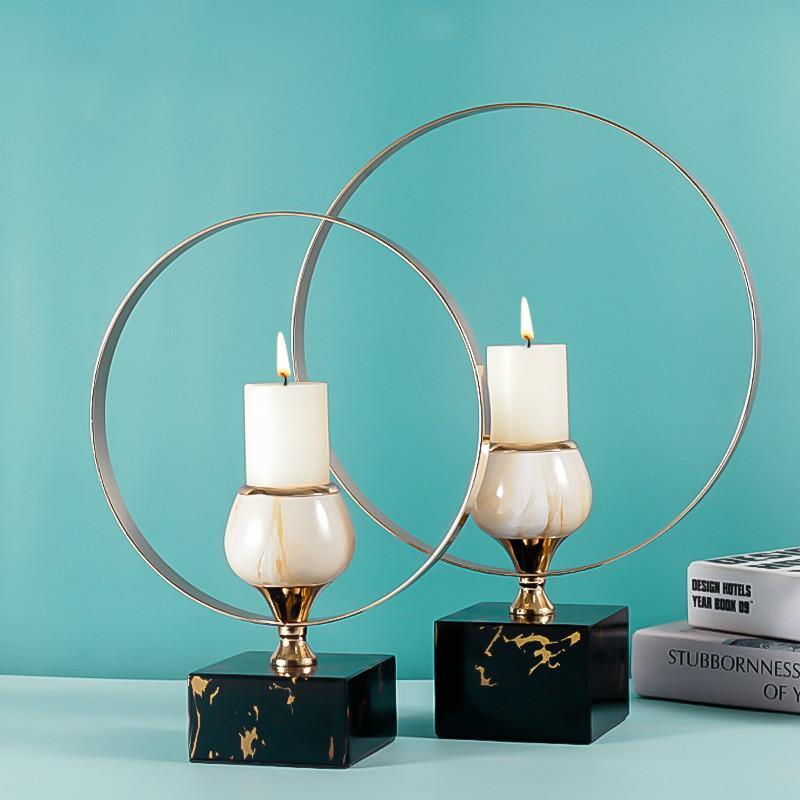 Casa candelabro hierro moderno mármol estilo nórdico vela soporte de vela minimalista mesa de cena de lujo bugeoir decoración de la casa Ed50zt