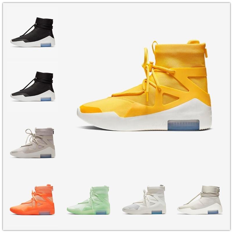 [С коробкой] 2021 Nike Air Fear of God 1 FOG joint name shoes  Лучшее качество Королевские мужчины Женские Обувь страх Повседневная обувь для кроссовки тренеров туманы матовые
