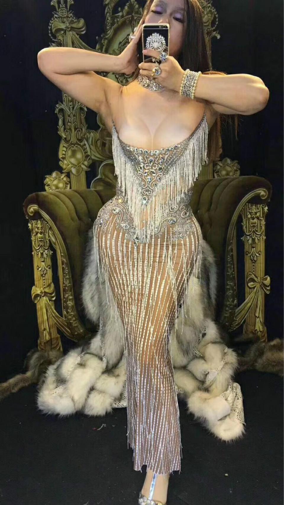Sparkly Crystals Tassel платье женщин сексуальный ночной клуб камней шеи длинные платья костюм женские выпускные рождения праздновать платья наряд