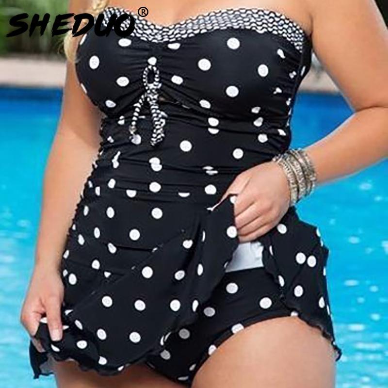 النقاط طباعة ملابس السباحة البرازيلي monokini تنورة ملابس السباحة النساء ارتداءها زائد الحجم ملابس السباحة خمر الرجعية المايوه البيكينيات 210305