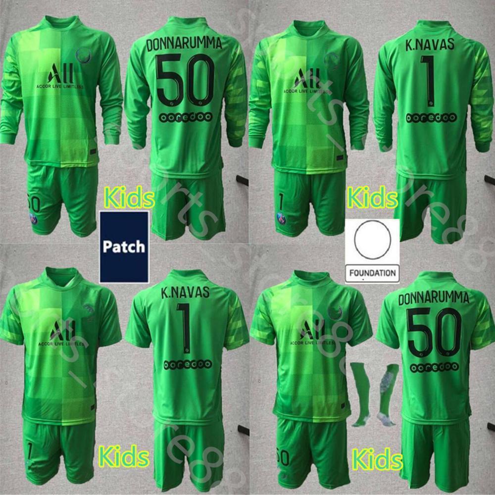 2021 2022 Kitleri Genç Germain Uzun Kollu Futbol Formaları GK Kaleci 1 Keylor Navås Jersey 50 Donnarumma Kids Kiti Futbol Gömlek