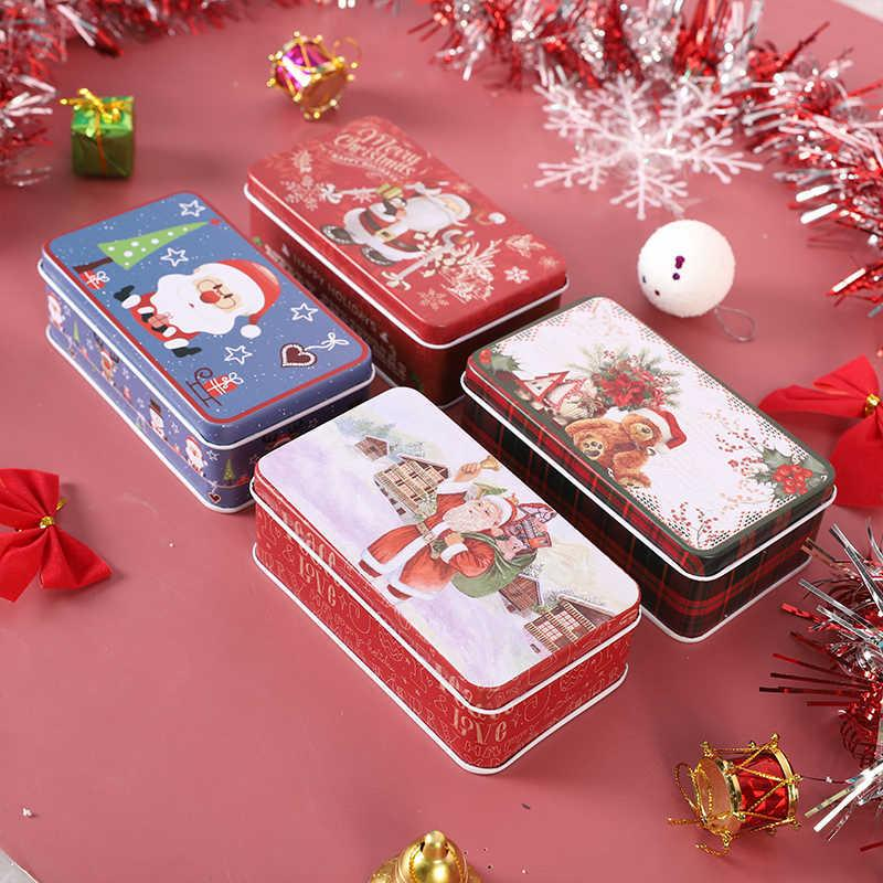 1 ADET Merry Christmas Şeker Kutusu Parti Hediye Teneke Karikatür Metal Çerezler Kutusu Hediyeler Çocuklar için Şeker Kutusu ve Ambalaj Y0712