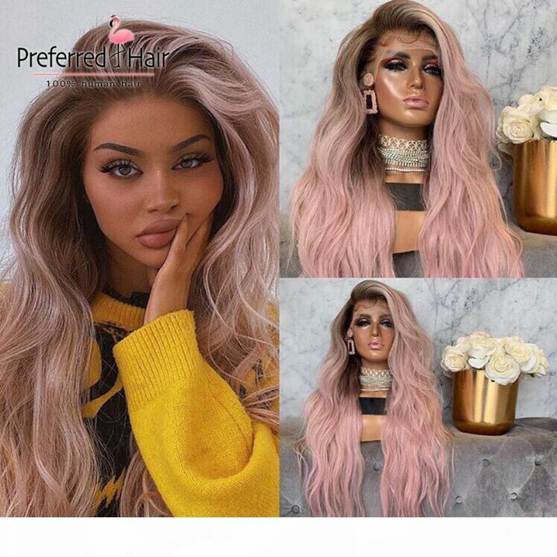 Perruque de la dentelle blonde de platine préférée Remy Brésilien Ombre Rose Human Hair Perruques Perruques en dentelle Transparente pour femmes