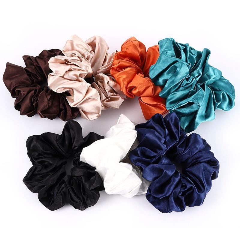 Аксессуары для волос 2021 Мода негабаритные женщины атласные галстуки упругих Screunchies Tootail веревка женское озел для волос