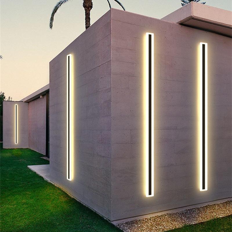 Outdoor Wall Lamps Waterproof LED Long Strip Lamp Modern Aluminum IP65 Bathroom Sconce Garden Porch 110/220V Line Light Luminaire