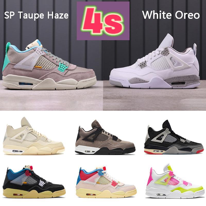 مع اوريو 4 4 ثانية أحذية كرة السلة SP Taupe Haze White X Sail Bred Noir Guava Ice Rasta رجل أحذية رياضية النساء المدربين