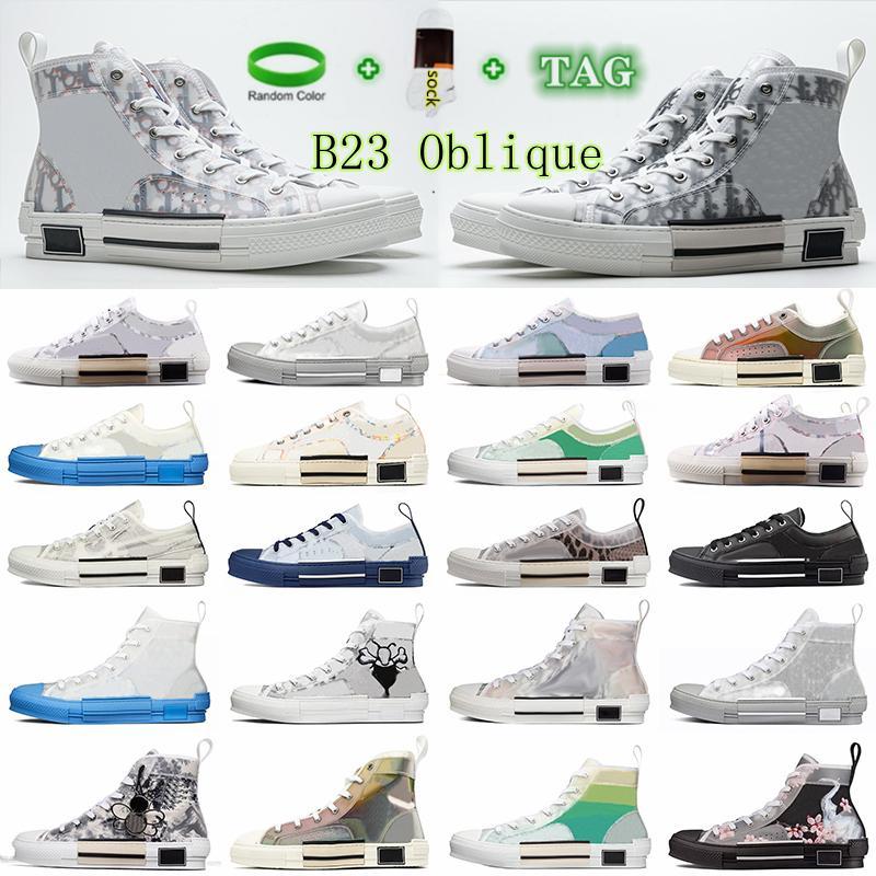 Baskets Dior Air B23 Oblique High Top Sneakers Luxury Shoe Designer KAWS Hommes Chaussures Mens Women Canvas Casual Shoes 3295