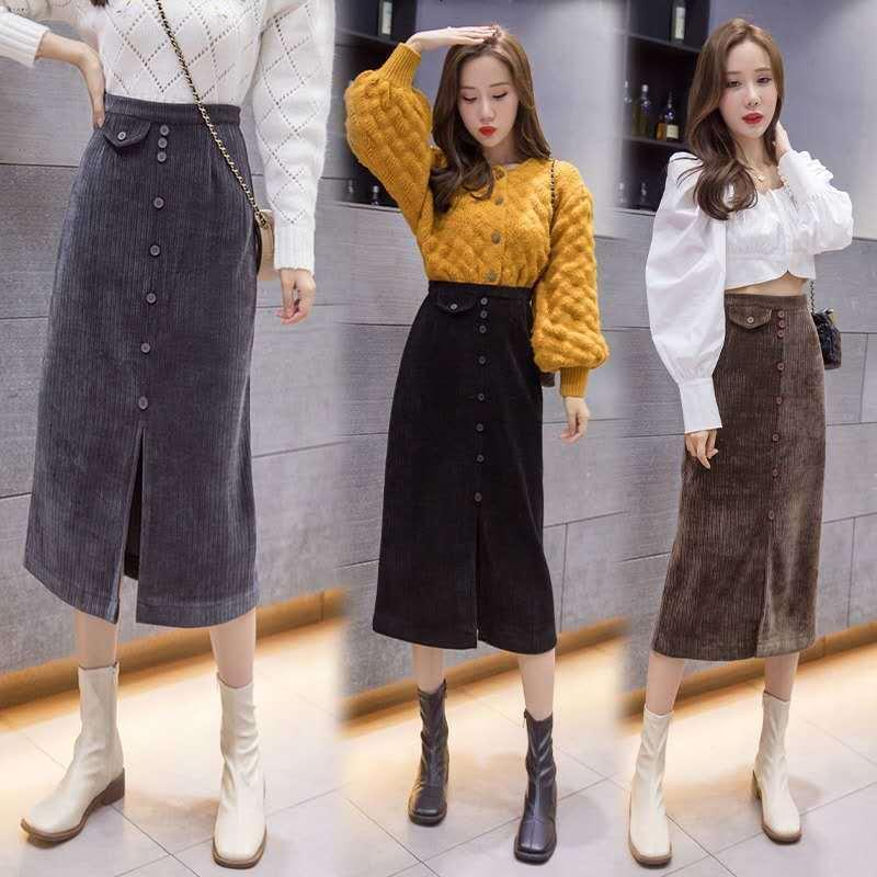 Весна и осенью модной уличной одежды Корейский высокая талия бархатная юбка Y277 K8WK