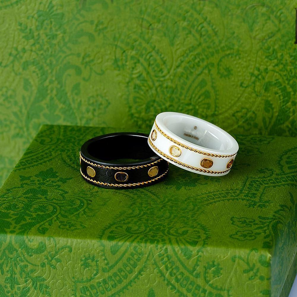 Ceramic Band g letter Rings Black White for Women Men jewelry Gold Ring