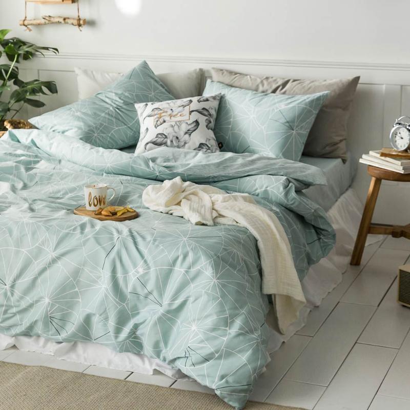 Baumwollbettwäsche Set einzelnes Doppelbett einfache Art Bettwäsche