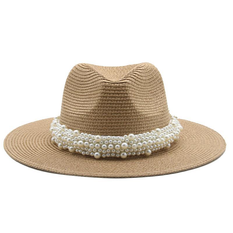 Güneş Şapkaları Kadın Erkek Yaz Bahar Yuvarlak En Geniş Brim Bant Kemer Ile İnci Hasır Şapka Açık Plaj Güneş Koruyucu Kadın Şapka Yeni
