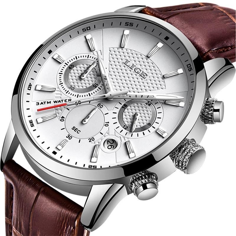 LIGE Yeni İzle Erkekler Moda Spor Kuvars Saat Erkek Saatler Marka Lüks Deri Iş Su Geçirmez İzle Relogio Masculino 210303
