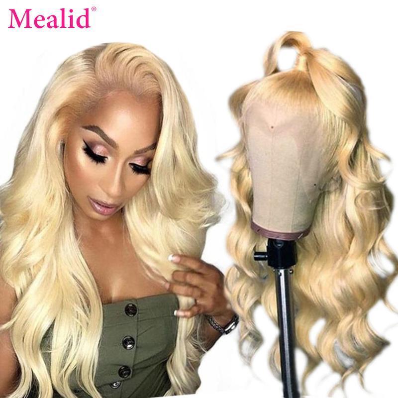 Parrucche di pizzo Mealid 613 parrucca anteriore bionda 13x4 trasparente frontale precipitato 28 30 pollice brasiliano Body Wave Human Hair