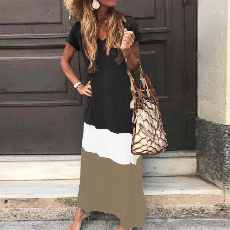 # H30 blok patchwork uzun elbise womendaily kravat boyalı renk artı boyutu gevşek maxi elbiseler v boyun kısa kollu plaj partisi dress1