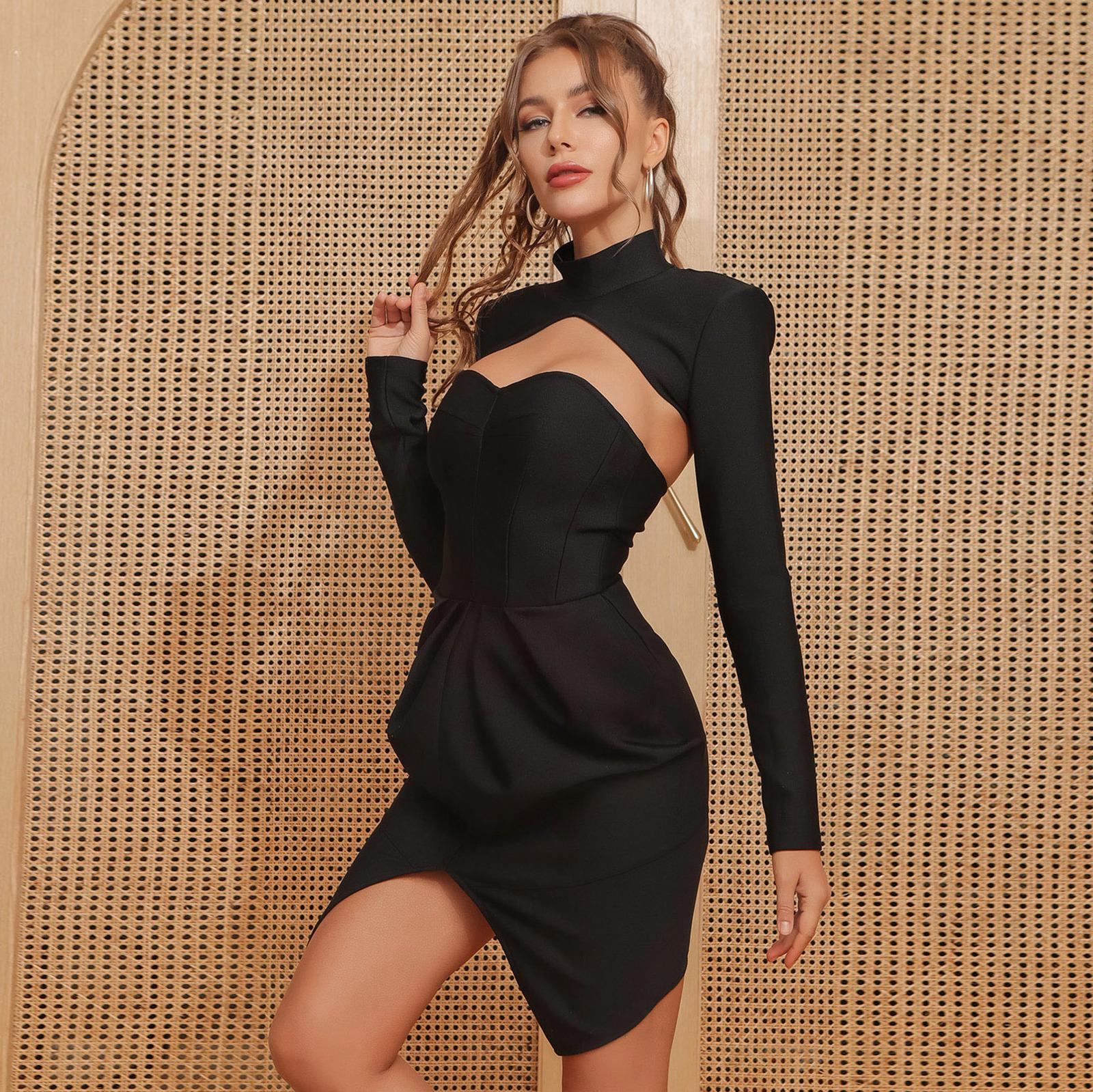 Seksi Siyah Tasarımcı Kadın Bandaj Kış 2021 Zarif Bayanlar Bodycon Elbise Parti CKM0