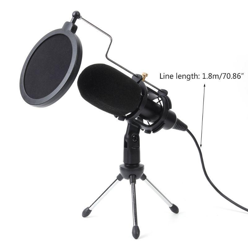 USB Mikrofon Serisi Kablolu Kondenser Mikrofon Stand Klip Ile PC Toptan Dropshipping
