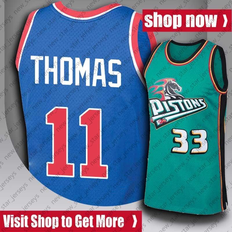 "ISIAH 11 Thomas Jersey 10 Dennis Grant Rodman Hill Jerseys Cade 2 Cunningham Jersey Detroit ""Pistão"" Jersey ZxCB"