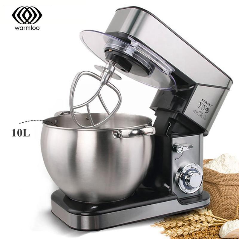 Lebensmittelmischer 10L Stand Mixer Elektrischer Mixer Edelstahl 2000W 6Speed Knetmaschine Küche 2 Hookwire Peitsche