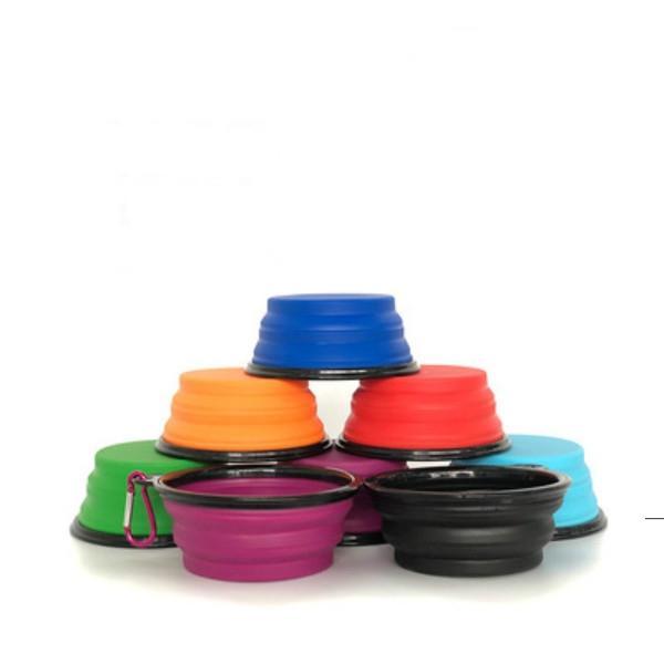 Tocador de alimentación para perros plegables de viaje Dos estilos PET Feed Feeder Feeder Bowl plegable de silicona con gancho Muchos estilos para elegir OWB5604