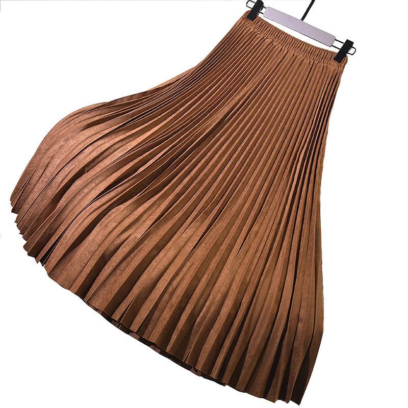 Outono inverno mulheres camurça saia cintura alta vintage saia plissada mulheres mulheres saia coreana feminina elegante longas saias 210305