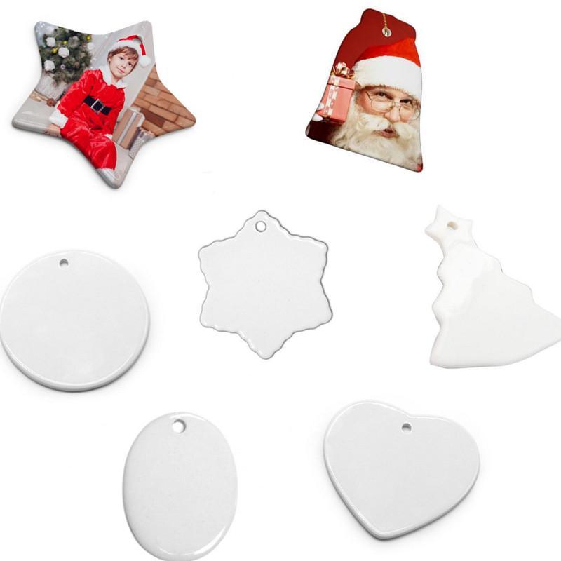 Пустые сублимационные керамические подвесные белые рождественские украшения творческие украшения теплопередача печатания DIY сердце круглый декор 8Styles